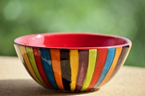 photo of a colorful striped empty bowl