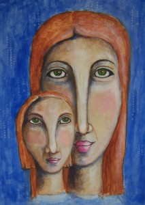 Acrylic painting.  Whimsical mom and her mini-me.